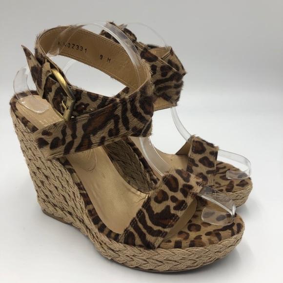 Stuart Weitzman X-Ray leopard wedge sandals 9